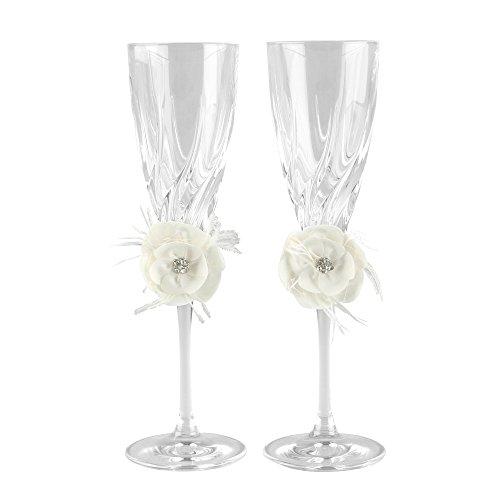 Ivy Lane Design Somerset Collection Crystal Toasting Flutes, Ivory, Set of -