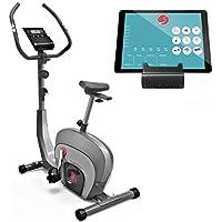 Sportstech Vélo d'Appartement ergomètre ES400 Home Trainer, Commande par Application Smartphone, Bluetooth, Pulsomètre, système de freinage magnétique, vélo Fitness, Support pour Tablette, écran LCD