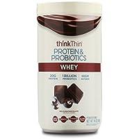 thinkThin Protein & Probiotics Whey Protein Powder (Belgian Chocolate, 14 oz, 11 Servings)