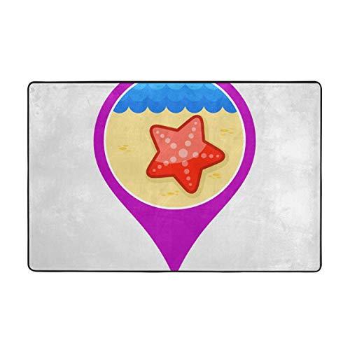 (Carpets Floor Mat Cover Floor Rug Indoor Outdoor Area Rugs Garden Office Starfish Pin Map Icon Summer Vacation (2) Door Mat Bathroom Pet Rugs Bedroom Carpets Doormats 60 X 39 Inches )
