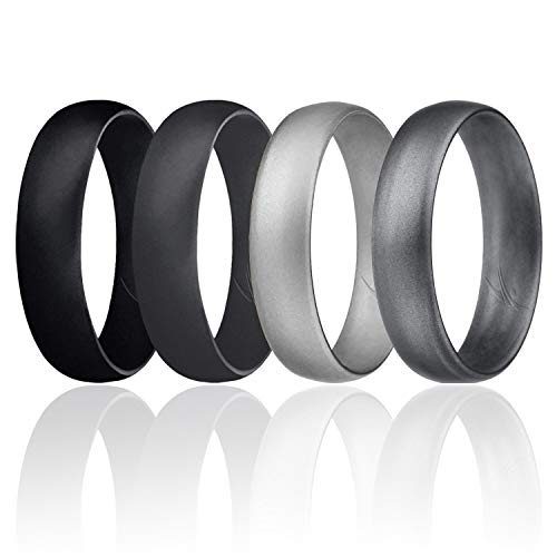 ROQ Silicone Wedding Ring for Men, Set of 4 Affordable Comfort Fit 6mm Manly Metallic Silicone Rubber Wedding Bands - Silver, Dark Silver, Black, Grey - Size 9