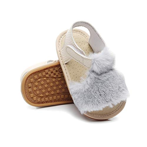 Leisuraly Sandals for Girls Newborn Infant Baby Letter Solid Flock Soft Sandals Slipper Casual Shoes Hook & Loop Birthday Gift Grey