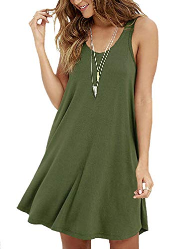 - Viishow Women's Summer Sleeveless Casual Swing Simple T-Shirt Loose Dress (XS, 1-Army Green)