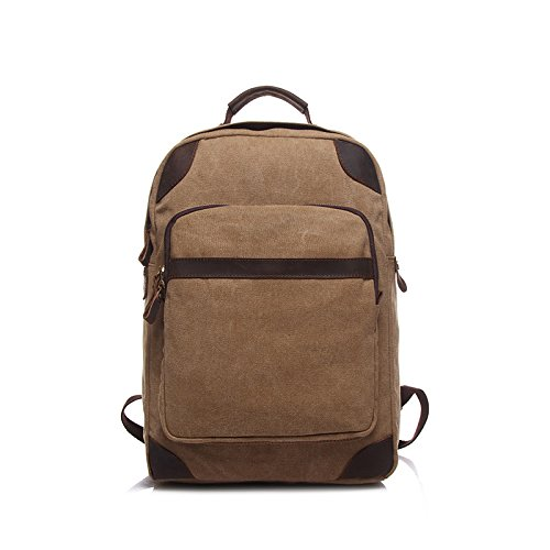BAGEHUA メンズレトロキャンバスバックパック、レディースファッション、耐久性に優れた旅行、バックパック、学生のラップトップバッグ(幅 35 センチ、高さ 40 cm 、厚さ 12 cm ) B076KFF2FKCamel