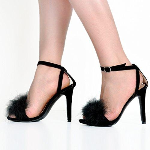 Kolnoo Damen BFCM Furball High Heel Slingback Schnalle Mode Sandalen Black