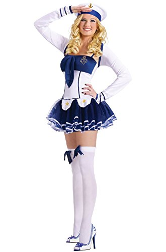 FunWorld Women's High Seas Hottie Adult Costume, Blue/White, Medium/Large - Pin Up Military Costumes