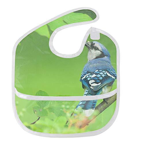Spring Blue Jay Baby Feeding Bibs with Food Catcher Pocket - Unisex Waterproof Bib