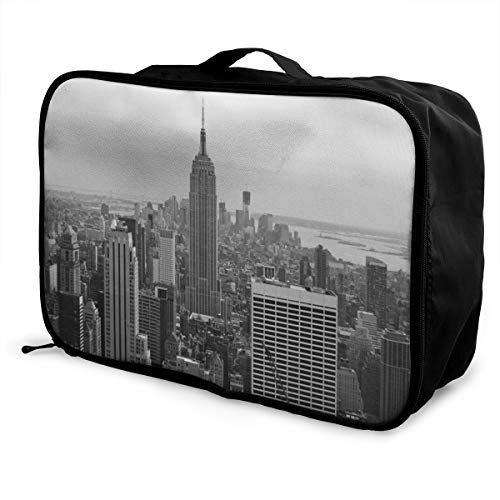 Charm Trend New York City Lightweight Waterproof Large Travel Duffel Bag Rolling Packable Extra Overnight Luggage Bags For Camping Gym Bags For Men/Women