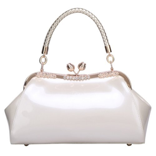 - VonFon Bag Work Place Patent Stereotypes Leather Handbag White