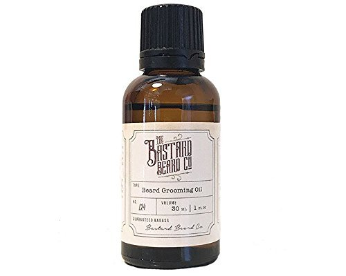 The Bastard Beard Co Natural Beard Grooming Oil For Men 1oz - 100% Made in the USA - 30ml Oil For Fuller Thick Natural Facial Hair With Coconut, Argan, Peppermint, Eucalyptus and Tea Tree Oil