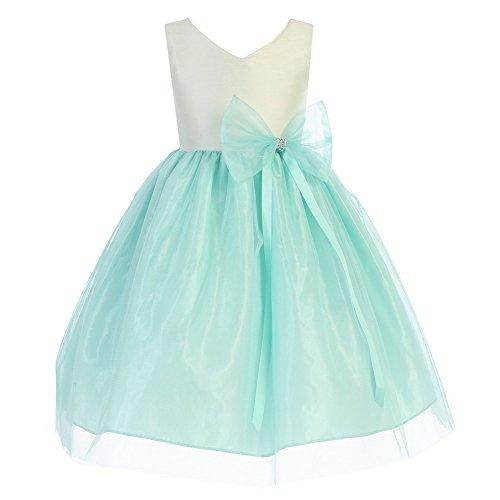 V-Neck Taffeta Wedding Dress - 1