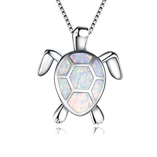 BlinkingSoul Created White Opal Sea Turtle Pendant Necklace for Women 18
