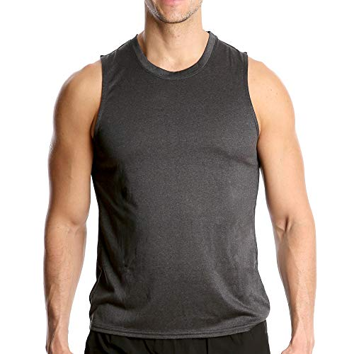 (Fort Isle Men's Athletic Gym Tank Tops - M - Dark Gray - Quick Dry Sleeveless Muscle Tee Shirts)