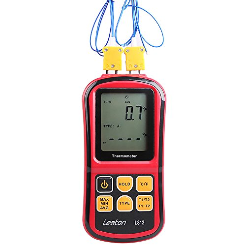 Thermocouple Probe - Leaton Digital Thermocouple Thermometer Dual-channel LCD Backlight Temperature Meter Tester for K/J/T/E/R/S/N Great (Batteries included)