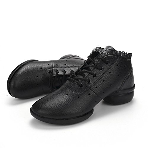Lady for Pu Black Split Modern Lightweight Jazz Sneakers Women's Ballroom Sole Mesh Girls Dance Breathable Shoes vavtxn