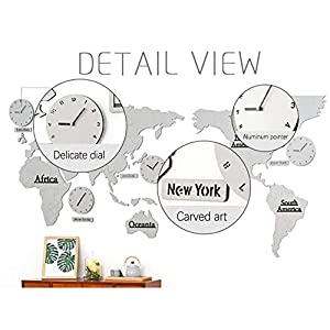 Wall clock Reloj Mapa Reloj de Pared Sala de Estar Reloj de Pared Estilo nórdico Movimiento de escaneo silencioso Material de Madera (137 * 63 * 0.5 cm) (220 * 115 * 0.5 cm) 4