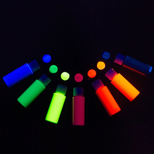 7-Pack of Blacklight Reactive Neon / Fluorescent Acrylic Paint (2oz bottles) (White Glow In The Dark Balloons)