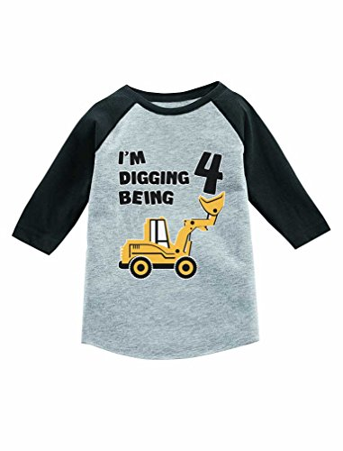 Tstars 4th Birthday Gift Construction Party 3/4 Sleeve Baseball Jersey Toddler Shirt 4T Dark Gray (3/4 Sleeve Birthday)