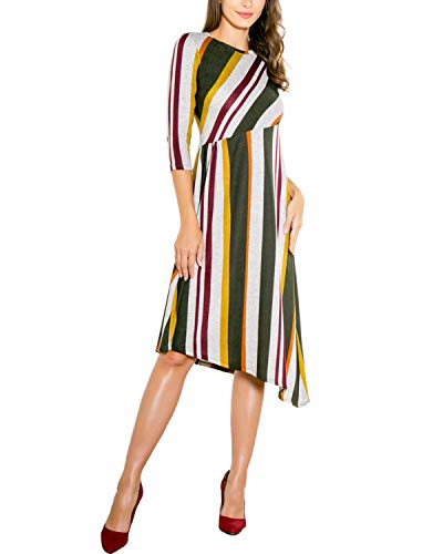 (BBYES Womens Vintage Striped Three Quarter Sleeve Tunic Dress High Waist Casual Flowy Party Dress Green Stripe XL)