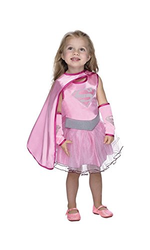 [Pink Supergirl Halloween Costume Tutu Dress with Cape: Toddler Girls Size 3T-4T] (Supergirl Costumes Pink)