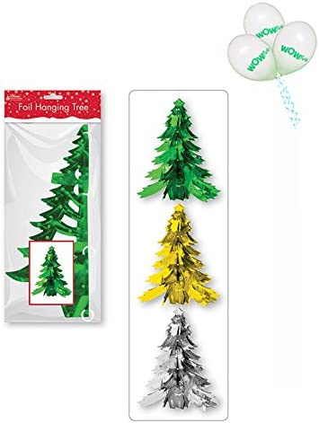Wow Party Wow Foil Xmas Tree Decorations 1 Is Supplied From 3 Colors With Pack Of 3 Balloons Amazon Co Uk Kitchen Home