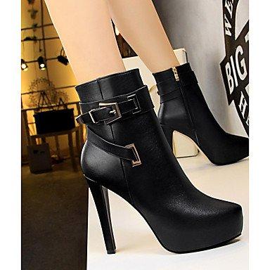 Dedo Botas Plataforma de Mujer el Otoño Tobillo Stiletto PU Puntiagudo Tacón Invierno Zapatos Botines SHAOYE Hasta Combate Botas black Confort Hebilla zf7xO0q