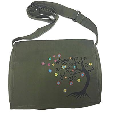 Army Green Handmade Hippie Boho Cross Body Messenger Bag with Himalayan Tree