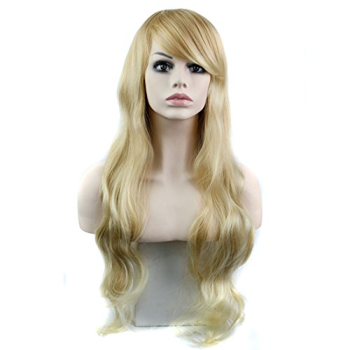 [HSG Hot Sell Sexy Ladies Long Wavy Curly Wigs Blonde Fluffy Full Hair Wigs with Fringe Bangs TF1203] (Long Sexy Wigs)