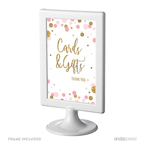 Andaz Press Blush Pink Gold Glitter Girl Baby Shower Party Collection, Framed Party Sign, Cards & Gifts Thank You Table Signage, 4x6-inch, 1-Pack, Includes Frame