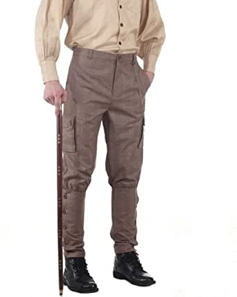 The Pirate Dressing Steampunk Victorian Cut Airship Pants- Plaid Brown Jodhpur Style - Size Small