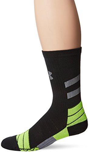 Under Armour Men's Illumination Run Crew Socks, Black/Hi-Vis yYllow, Medium
