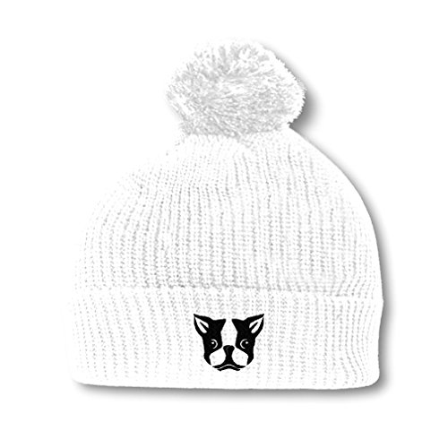 Speedy Pros Boston Terrier Silly Face Embroidery Embroidered Pom Pom Beanie Skully Hat Cap White