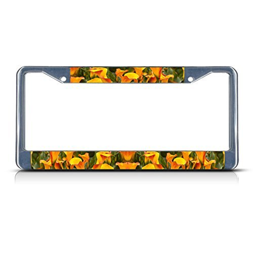 (License Plate Frame CALLA LILIES FLOWERS Chrome Metal Tag Holder)