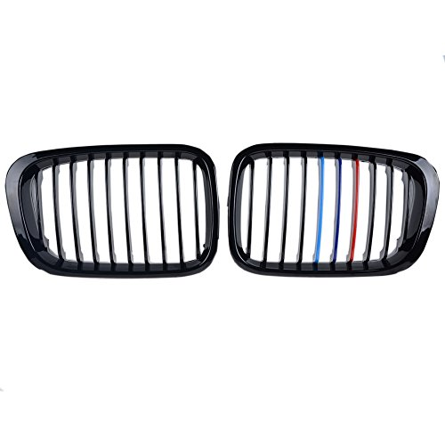 4 Door Hood - 2X Euro Front Hood Kidney Center Grill Grille LH RH Side For BMW E46 4 Door Sedan 98 99 00 01 -- Choose Color (Glossy Black + M Color)
