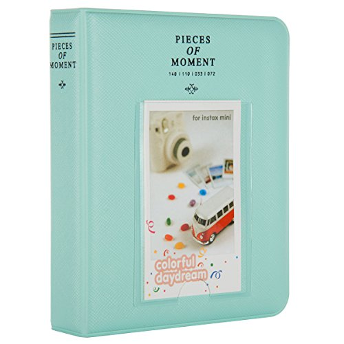 CAIUL [Instax Mini 9 Photo Album] Compatible Pieces of Moment Book Album for Films of Fujiflm Instax Mini 7s 8 8+ 9 25 26 50s 70 90 (64 Photos, Ice Blue)
