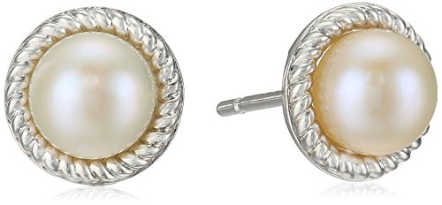 Pearl Rope Earrings (Sterling Silver Cultured Pearl Stud Earrings with Rope Border)
