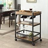 Linon 464908MTL01U Austin Kitchen Cart, 30.5' W x 18.13' D x 36.25' H, Black