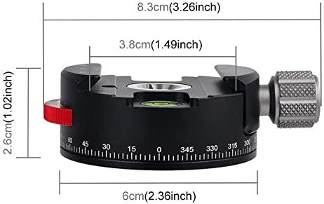 ZaRoing Panorama Base Mount Aluminum Alloy Coaxial Indexing Clamp Scale Fluid Tripod Head for Outdoor Photography