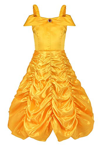 Famajia Little Girls Princess Dress Off Shoulder Layered Dress Up Pretend Play Role Play Party Queen Halloween Costume Yellow -