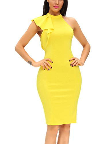 ZKESS-Womens-Cheap-Casual-Turtleneck-Bridesmaid-Eveing-Night-Formal-Party-Midi-Dress-Prom-Wedding-Club-Yellow-Small