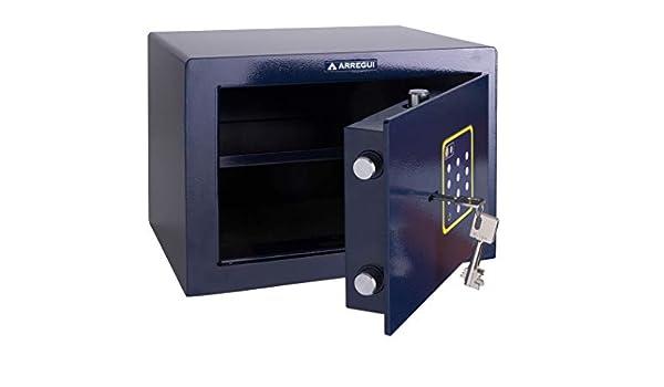 Arregui 15000B-S2 - Caja fuerte de sobreponer electrónica, 16L, doble sistema de apertura, 340x250x245mm, Azul.: Amazon.es: Bricolaje y herramientas
