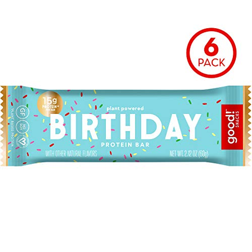 good! Snacks Vegan Birthday Cake Protein Bar | Gluten-Free, Plant Based, Low Sugar, Kosher, Soy Free, Non GMO | 15g Protein (6 Bars)