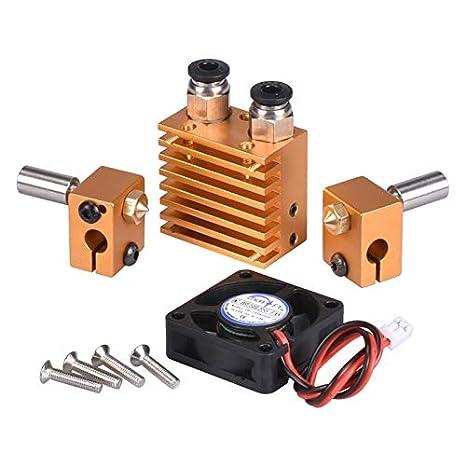 12V 40W 1 All Metal V6 Dual Color 2 In 2 Out Extruder f/ür 3D-Drucker 1,75 mm Filament Multi-Extrusion V6 Bowden Hotend Kit goldfarben 12 V, Golden