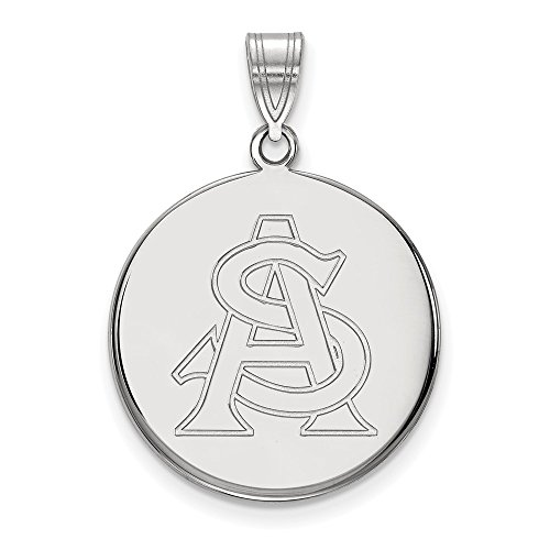 10k White Gold Arizona State Sun Devils School Letters Logo Disc Pendant L - (22 mm x 21 mm) ()
