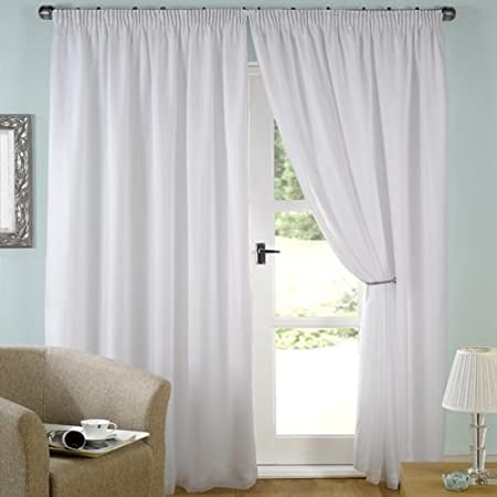 LUXURY WHITE LINED VOILE CURTAINS PENCIL PLEAT 90quot Wide X Drop