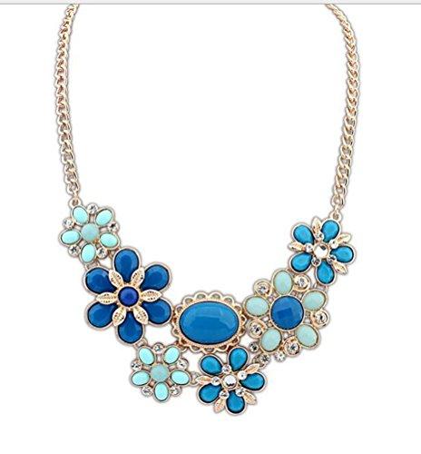 SunIfSnow Women Exaggerate Collarbone Bohemian Large Flowers Necklace blue