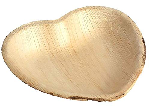 Natural Palm Leaf Heart Shaped 7 inch Plates Disposable Party Dinnerware (25 pack); Eco friendly, Green Chemical free, Biodegradable, Great for Weddings, Parties, Buffets, - Buffet Plate Green