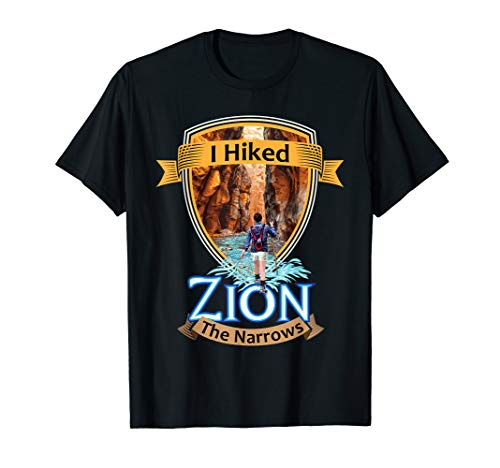 I Hiked Zion The Narrows - Utah River Adventure Souvenir Tee (Map Of The Narrows In Zion National Park)