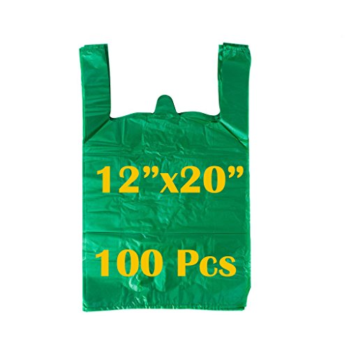 LazyMe 12 x 20 inch Plastic Thick Green T Shirt Bags, Handle Shopping Bags, Multi-Use Large Size Merchandise Bags, Green Plain Grocery Bags, Durable, (Green) (100, Green) ()
