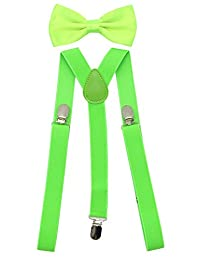 JAIFEI Men's Adjustable Strong Clip-on Suspender & Bow Tie Set for Wedding (Lime Green)